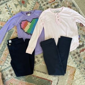 Girls Size 8 Long Sleeve Top Leggings Outfit